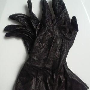 Vintage Genuine Leather Gloves D. Brown Aris Lined
